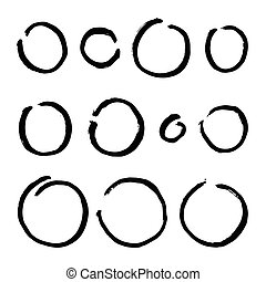 Paint brush circles. Vector paint grunge illustration