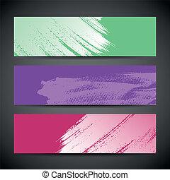 Paint brush banner colorful background set. vector illustration