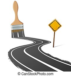 paint brush draws the road next to a traffic sign