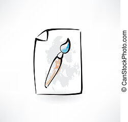 paint brush grunge icon