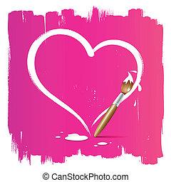 Paint brush heart shape background