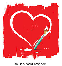 Paint brush heart shape