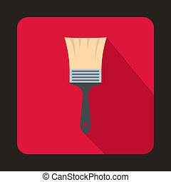 Paint brush icon, flat style