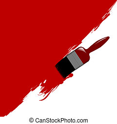 Paint Brush - Illustration of a paint brush painting a wall...