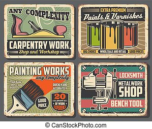 Paint, brush, jack plane, bench vice. Repair tool