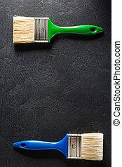 paint brush on black background texture