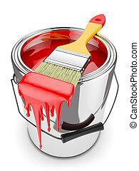 Paint brush on paint can - Paint brush on can with red paint...
