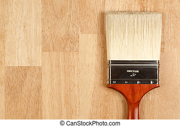 Paint Brush on Wood Surface - Paint Brush on a Wood Surface ...