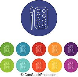 Paint brush palette icons set vector color