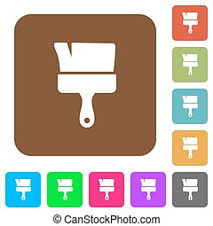 Paint brush flat icons on rounded square vivid color backgrounds.