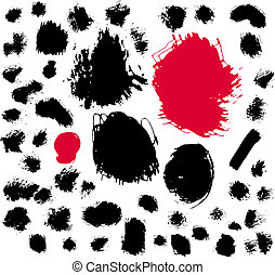 Paint brush spots - Illustration of 50 ink and brush spots
