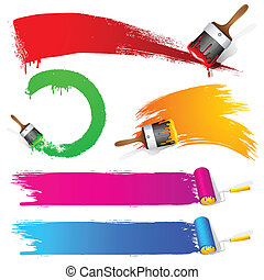 illustration of set of colorful paint brush stroke