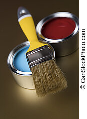 Paint brush, tin can and color guide samples