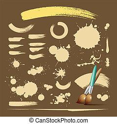 Paint brush vintage ink background