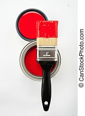 Paint brush with can of red paint - Black handle paint brush...
