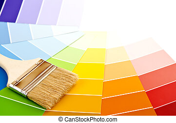 Paint brush with color cards - Clean paintbrush on rainbow ...