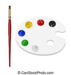 paint brush with color palette on white background