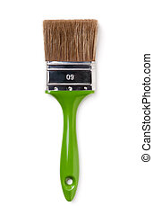Paint brush with green handle isolated.