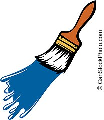 Paint brush with paint stroke