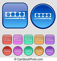 Paint brush with palette icon sign. A set of twelve vintage buttons for your design. Vector