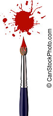 Single paint brush with red splattered paint. White background. Vector available