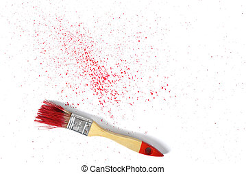 Paint brush with red gouache sprays near on white canvas in top view