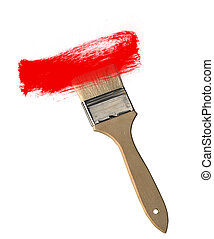 Paint brush with red paint stroke isolated on white background