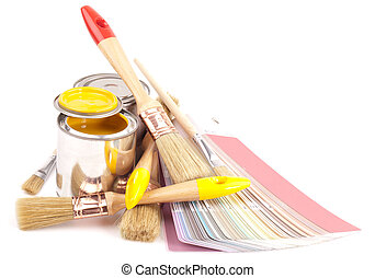 paint brushes and cans