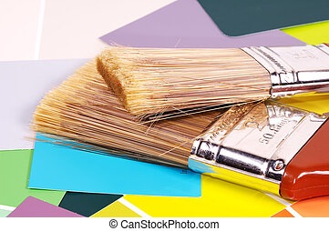 Paint Brushes and Color Chips