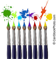 Eight brushes and colorful splattered paint. White background. Vector available