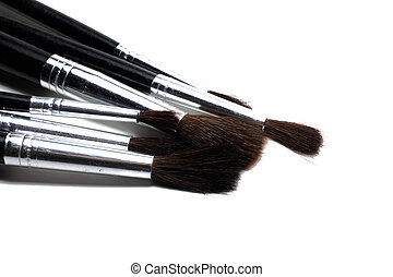 Paint brushes close up, isolate on a white background