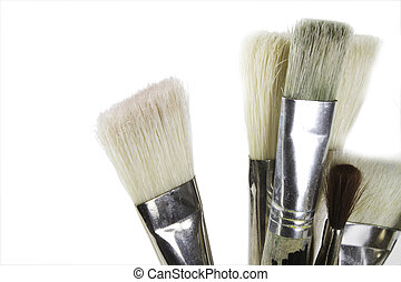 Paint Brushes - Oil painting brushes isolated on white