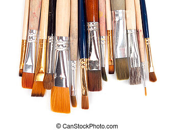 paint brushes on a white background.