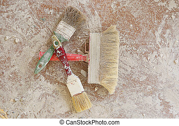 Paint brushes on the floor