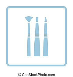 Paint brushes set icon. Blue frame design. Vector...