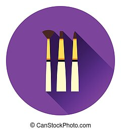 Paint brushes set icon. Flat color design. Vector...
