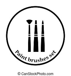 Paint brushes set icon. Thin circle design. Vector...