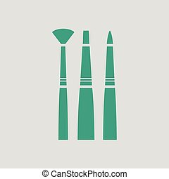 Paint brushes set icon. Gray background with green. Vector...