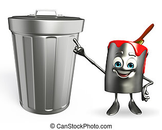Paint Bucket Character with dustbin - Cartoon Character of...
