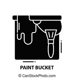 paint bucket icon, black vector sign with editable strokes, concept illustration
