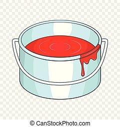 Paint bucket icon, cartoon style
