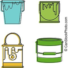 Paint bucket icon set, color outline style