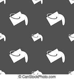 Paint bucket icon sign. Seamless pattern on a gray background. Vector