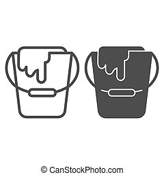 Paint bucket line and glyph icon. Can vector illustration isolated on white. Paint container outline style design, designed for web and app. Eps 10.