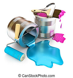 Paint bucket, paint roller and paint brush. Banks with a...