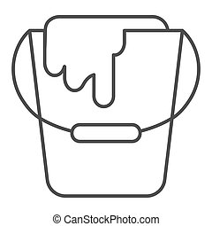 Paint bucket thin line icon. Can vector illustration isolated on white. Paint container outline style design, designed for web and app. Eps 10.