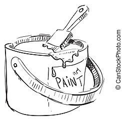 Paint bucket with brush sketch cartoon vector illustration