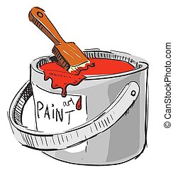 Paint bucket with brush