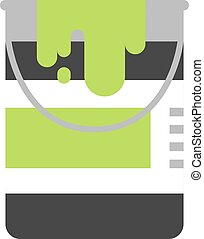 Paint bucket with green color ink vector illustration icon.