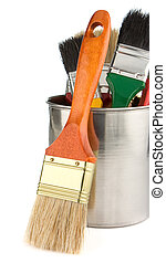 buckets and paintbrush isolated on white